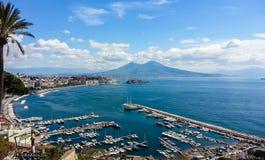 Naples landskap från den Posillipo kullen Arkivbilder