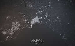 Naples map, satellite view, Italy Royalty Free Stock Images