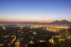 Naples with Mount Vesuvius in the background Royalty Free Stock Images