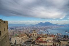 Naples and mount Vesuvius view from the fortress Royalty Free Stock Photos