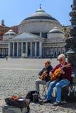 Naples (Napoli), Italien - Juni 10: Piazza del Plebiscito, Juni 10 Royaltyfri Fotografi