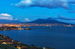 Naples by Night. Best view of the gulf of Naples by night Stock Photo