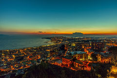 Naples in the night egg castle on the sea Stock Photo