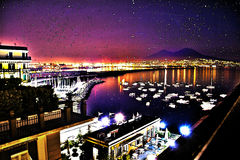 Naples Night view. In HDR/Comic Style Stock Images