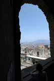 Naples panorama seen from the Castel SantElmo. Italy. Castel SantElmo is a medieval fortress located on a hilltop near the Certosa di San Martino Stock Photography