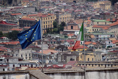Naples panorama seen from the Castel SantElmo royalty free stock image