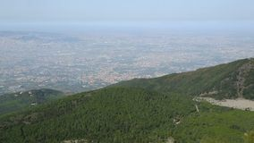 Naples panorama shown from top of mountain with hills and sea in shot, sequence. Stock footage stock footage