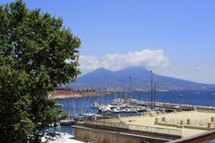 Naples, panoramic view with Vesuvio, Italy. Naples, panoramic view on the blue sea with Vesuvius and boats, Italy stock photography