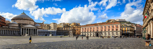 Naples piazza Del Plebiscito Zdjęcie Royalty Free