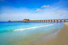 Naples Pier and beach in florida USA Royalty Free Stock Images