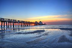 Free Naples Pier On The Beach At Sunset Royalty Free Stock Image - 107641516