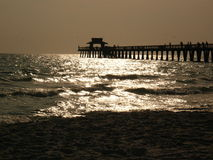 Naples pier in the setting sun. The fishing pier of naples, florida, in the setting sun. you can see he shapes of the fishing people and the pelicans Stock Images