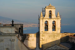 Naples port and castle bell tower Royalty Free Stock Images