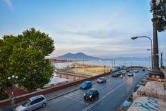 Naples Port and Mount Vesuvius Stock Image