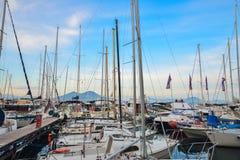 Naples Port and Mount Vesuvius Stock Photography