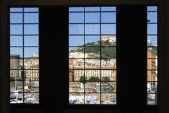 Naples through port terminal windows Stock Photo