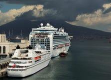 Naples, port, Vesuvius Stock Photography