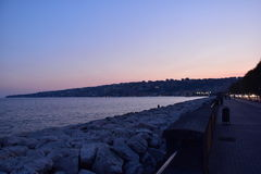 Naples promenade at sunset. Royalty Free Stock Images