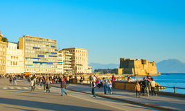 Naples quayside at sunset, Italy Stock Images