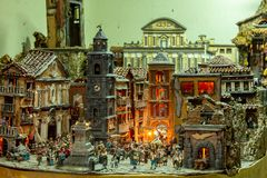 Naples, the representation of via San Gregorio Armeno in miniature as crib scene . 03/11/2018.Typical Christmas decorations stock images