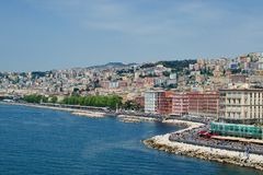 Naples seaside from the sea Stock Photos