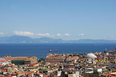 Naples, Royal Palace. A view of Naples on Royal Palace and dome of the Basilica of San Francesco di Paola Stock Image