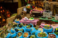 Naples, San Gregorio Armeno, baskets of seafood. And in the background of the bread banquet. 03/11/2018 stock image