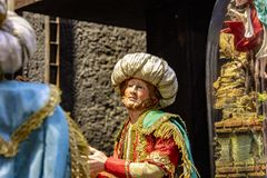 Naples, San Gregorio Armeno , a typical Presage of Napolitan crib scene.Typical Christmas decorations stock images