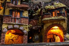 Naples, San Gregorio Armeno, crib structure. Naples, San Gregorio Armeno, typical structure of the Neapolitan nativity scene. 03/11/2018 stock images
