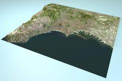 Naples, satellite view, map, Campania, Italy Stock Photos