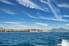 Naples town and Mount Vesuvius from the sea Stock Photos