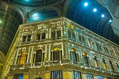 Naples Shopping Gallery, Galleria Umberto I, Travel Italy. November, 2017 - Galleria Umberto I interior. Shopping arched-skylight ceiling gallery in Naples Royalty Free Stock Images
