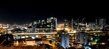 Naples,skyline,architecture. Night view of the business center of Naples Royalty Free Stock Image
