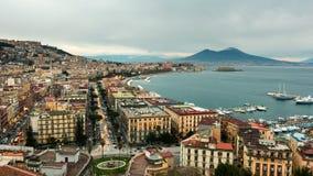 Naples skyline, port and Vesuvius volcano view, time-lapse. stock video