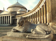 Naples square. Statue of lion royalty free stock images