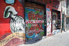Naples street view with graffiti over grungy wall Royalty Free Stock Images