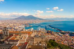 Naples, Stunning panorama with the Mount Vesuvius. Naples Cityscape - Stunning panorama with the Mount Vesuvius royalty free stock images