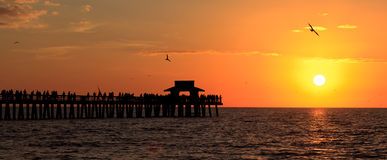 Naples Sunset. Beautiful sunset at the Naples fishing pier in Florida Royalty Free Stock Image