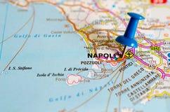 Naples sur la carte photographie stock libre de droits