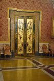 Naples` 16th century royal palace interior detail. Lavish lavish interior detail in gold and gilt at Naples palazzo reale or royal palace from 16th century when royalty free stock photography