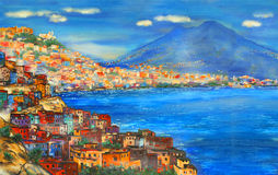 Naples today. Painted picture of Naples view royalty free stock photos