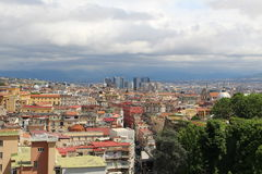 Naples from the top of the mountain Italy blue sky. Naples from the top of the mountain Italy blue cloudy sky Royalty Free Stock Images