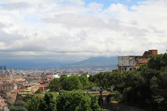 Naples from the top of the mountain Italy blue sky Vesuvius background. Naples from the top of the mountain Italy blue cloudy sky Vesuvius background Stock Photography