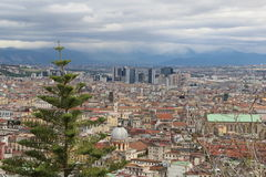 Naples from the top of the mountain Italy blue sky Vesuvius background. With a large tree in the foreground Royalty Free Stock Photo