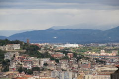 Naples from the top of the mountain Italy. Grey sky Vesuvius background royalty free stock photography