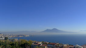 Naples and Vesuvius from Posillipo. View of Naples and Vesuvius from Posillipo in december Stock Photos