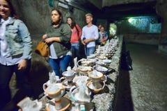 Naples WŁOCHY, CZERWIEC, - 01: Naples antyczne podziemne galerie przy Naples, Włochy na Czerwu 01, 2016 Zdjęcie Stock