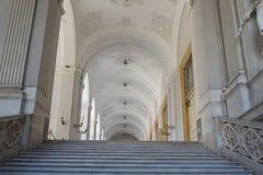Naples, Włochy 25 2018 Październik piękny biały wnętrze lobby z swój wspaniałym schody fotografia stock