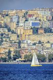 Naples town from the sea stock photography