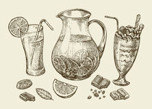 napoje Wręcza patroszonego koktajl, smoothie, miotacz lemoniada, milkshakes, owocowy sok, czekolada, deser, napój ilustracja wektor